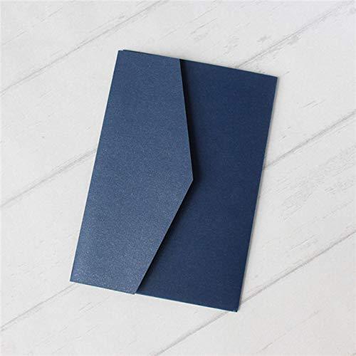 ZheQR Die Leere Hochzeitseinladung, die die dreifach gefaltete Tasche einhüllt, Laden Multi Farben des Abdeckungsangebots kundengebundenen Service, Marineblau, kundengebundenes Drucken EIN