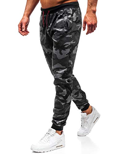 BOLF Herren Hose Jogger Sporthose Jogging Audruck Print Motiv Army Camo Military Sport Style J.Style MK19 Dunkelgrau XXL [6F6] Street Sport Jogger