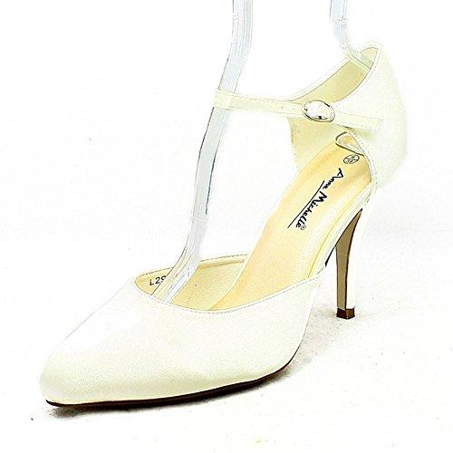 Satin chaussures de mariage plaine haut talon avec fine bride à la cheville Ivoire
