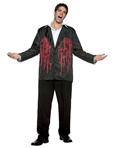Rasta Imposta Blutige Jacke mit Einschusslöchern Halloween-Kostüm schwarz-rot M / L