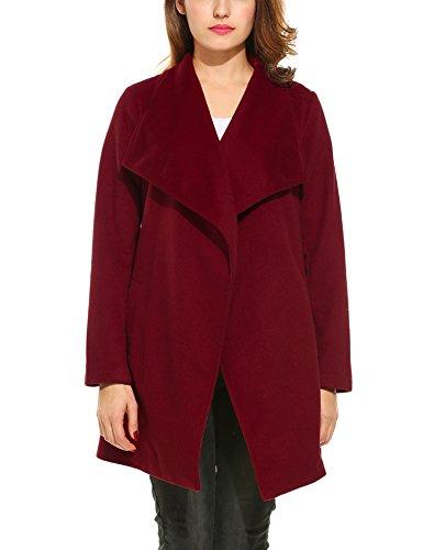 Beyove Damen Mantel Wasserfallkragen Langarm Outwear Jacke Schalkragen Trenchcoat Cardigan mit Taschen Gürtel Herbst Winter Weinrot L 40