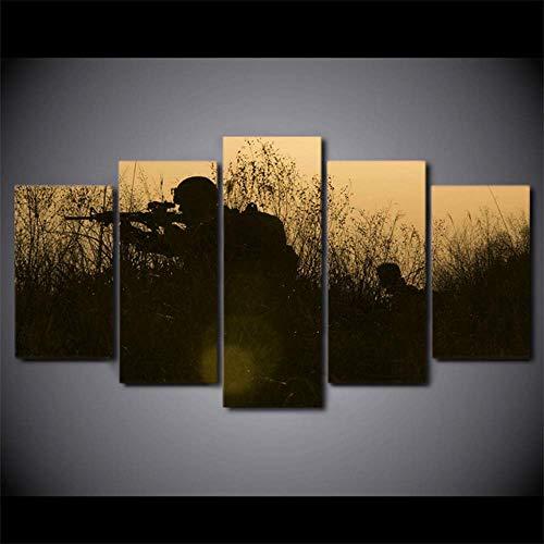 Wuwenw Wandkunst Leinwand Bilder Home Decor Wohnzimmer Hd Gedruckt Sonnenuntergang Poster 5 Stücke Soldaten Waffen Silhouetten Malerei, 12X16 / 24/32 Zoll, Ohne ()