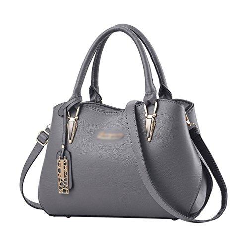 Baymate Damentasche Handtasche Frauen PU Leder Vintage Schultertasche Umhängetasche Messenger Bag Grau