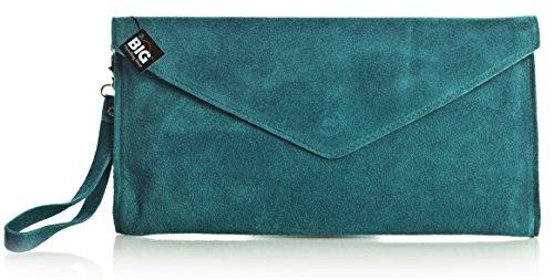 LiaTalia Italienische Wildleder Umschlag Clutch Abendtasche mit Baumwollfutter und Staubschutztasche - Leah (Clearence) - Deep Teal