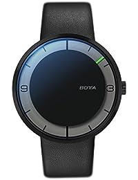 Nova Botta-Design - Reloj de Pulsera automático Carbon + reloj de la mano, de acero inoxidable, esfera de colour negro, Colour negro, correa de cuero