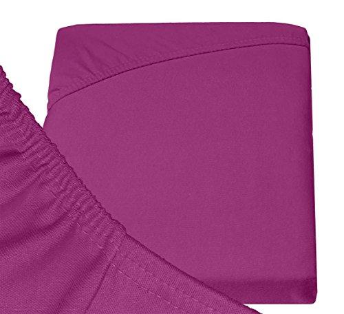 Double Jersey - Spannbettlaken 100% Baumwolle Jersey-Stretch bettlaken, Ultra Weich und Bügelfrei mit bis zu 30cm Stehghöhe, 160x200x30 Aubergine - 6
