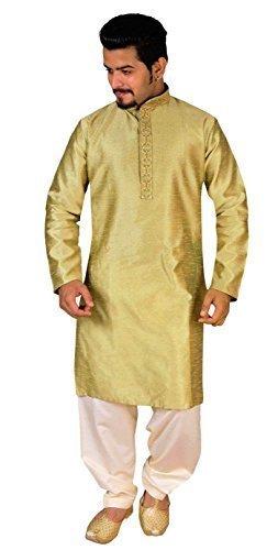 Desi Sarees Herren Gold ethnisch Kurta mit cremefarbenen -