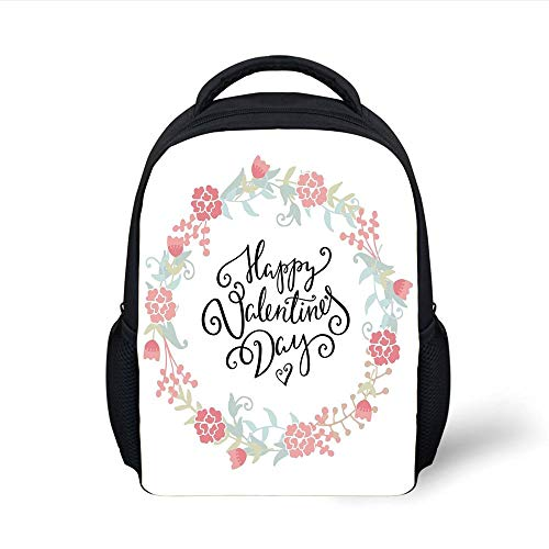 Kids School Backpack Valentines Day Decor,Floral Flowers Buds Roses Tulips Circled Frame Valentine Hearts,White and Black Plain Bookbag Travel Daypack