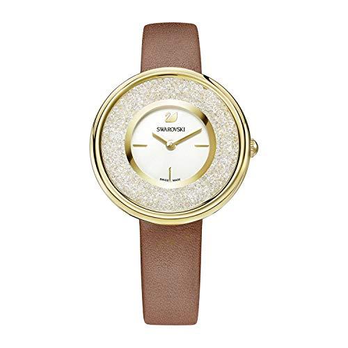 Swarovski Damen-Armbanduhr Analog Quarz One Size, weiß/silber, braun