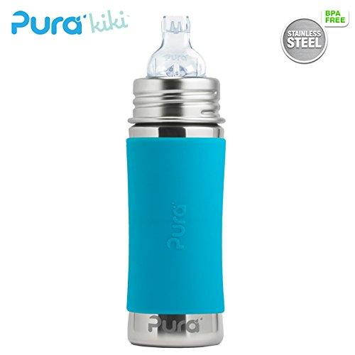 Pura Kiki Trinklernflasche - 325ml - XL Trinklernaufsatz (inkl. Schutzkappe) Pura Farbe/Design Blank + Blauer Überzug