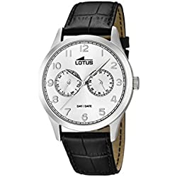 Lotus Men's Quartz Watch with Silver Dial Analogue Display and Black Leather Strap 15956/a