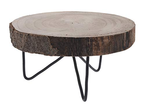 Meinposten. Dekobrett Holz Baumscheibe Holzbrett Baumstamm Tablett Brett mit Füßen Ø 24 cm