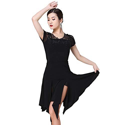KLEDDP Tanzabnutzung Latin Dance Modern Dance Kostüm Anzug weibliche Erwachsene Rumba Kleidung Berufskleidung (Color : Black, Size : M)