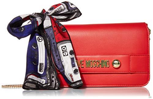 Love Moschino Damen Borsa Small Grain Pu Clutch, Rot (Rosso), 14x26x3 Centimeters