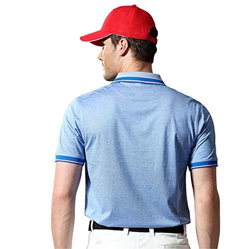 Mercerisierte Golf (Männer Sport Top Herren Kurzarm Revers Polo Shirt Mercerisierte Baumwolle Golf T-Shirt Atmungsaktiv Anti-Falten Outdoor Sports Erwachsene T-Shirt (Farbe : Blau, Größe : XXL))