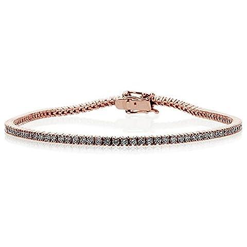 14 ct Rose Gold 1.5mm 1.5 ct.tw Round Cubic Zirconia Prong Set Tennis Bracelet