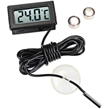 Idealeben LCD Termómetro Digital para Frigorífico Incorporado Monitor Digital con Sonda de Temperatura 2M con un Ventosa(Negra)