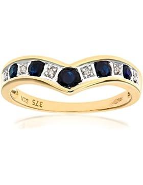 Revoni - 9 Karat Gelbgold Saphir- und Diamant-Gabelbein-Ring