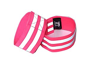 LW High Visibility Reflective Ankle Arm Wrist Bands Elastic (Pair) with Bonus reflective sticker (Pink, Ankle band)