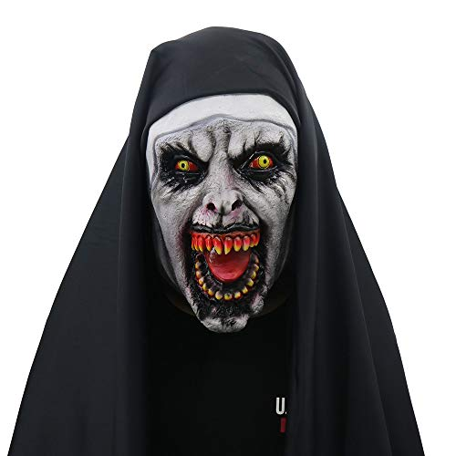 Oyedens Halloween Maske Herren Halloween Requisit Kostüm 1 Dämon Nonne Horror Maske Halloween Requisiten The Conjuring 1 Devil Nun Horror Masks Mit Wimple - Zahn Verwandte Kostüm