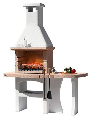 1pz barbecue in muratura mod.dubai crystal in cemento,con cappa cm 170x71x231h