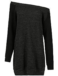Damen Klobig Zopfmuster V-ausschnitt Pullover Ärmellos Schlabber Minikleid Top