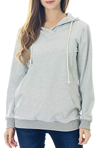 Smallshow Schwangere Pflege Damen Langarm Stillen Shirt Sweatshirt Kapuzenpullover Stillzeit Light Grey XL