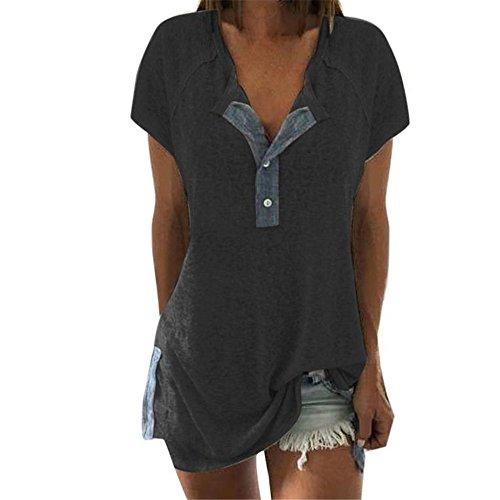 Top Bluse Bequem Lässig Mode T-Shirt Blusen Frauen lösen beiläufige Knopf Kurzschluss Hülsen Blusen T-Shirt Oberseiten des Patchworks(Dunkelgrau, 5XL) ()