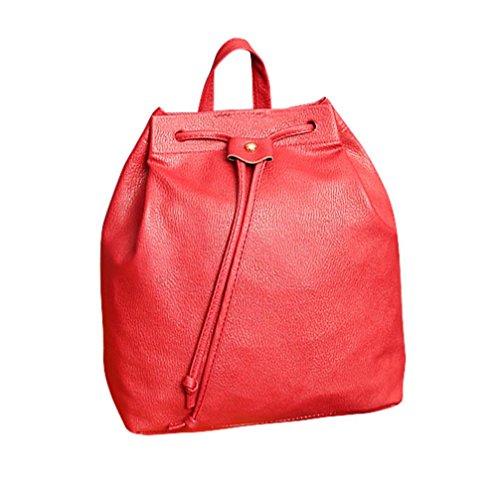 Frauen Rucksack, Kingwo Mädchen Frauen Mode DrawstringTravel Satchel Schulbeutel Rucksack Eimer Tasche Rot