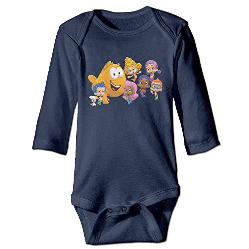 Beautiful home 1 Bubble Guppy Logo Cute Baby Neutral Long Sleeve Jumpsuit Wide Leg Pants Cotton 18M (Wide Pants Cotton Leg)