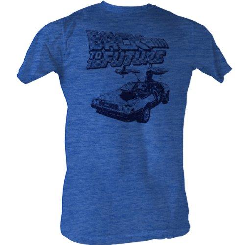Back To The Future - Btf Halftone Männer T-Shirt In Sea Blue Heather Sea Blue Heather