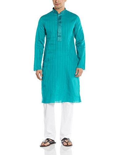 Manyavar Men's Cotton Kurta Pyjama (8903035114327_M301048-327-XXL_Light Green)