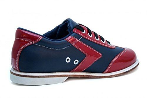 Bowlio Verona - Chaussures de bowling en cuir noir et rouge - Adulte et enfant Rouge/Noir
