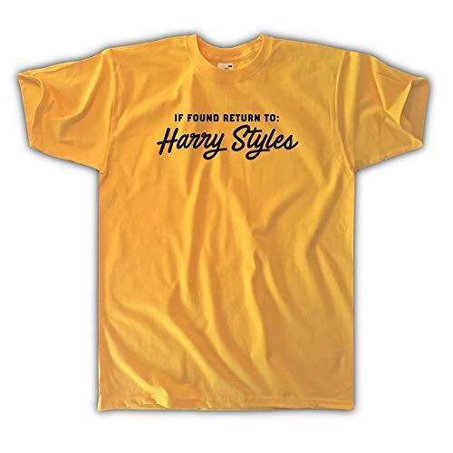 Outsider. Herren Unisex If Found Return to Harry Styles T-Shirt - Gelb - Medium