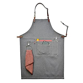 Big-Sized Work Apron Stylish Durable Denim Coffee/Chef/Workshop Apron Pockets and Pen Holder, Adjustable Waist Ties & Leather Neck Strap Tool Aprons for Women Men HSW053-B