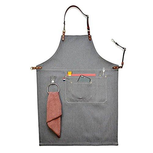 Big-sized Tablier de travail élégant durable Denim Café/Chef/atelier Tablier poches et porte-stylo, taille réglable cravates et cuir Outil Sangle de cou tabliers pour homme ou femme Hsw053-b