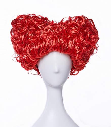 Peluca corta de HIAYSAN con forma de corazón rojo ondulado y ondulado, para mujer, disfraz de cosplay...