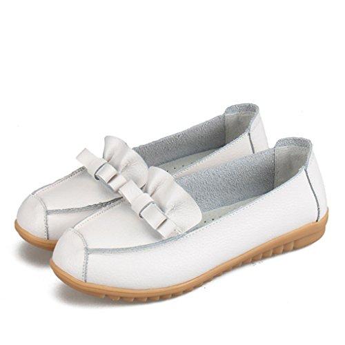 YY-Rui Manteau en cuir mignon PU en cuir féminin sur le confort confortable Casual Loafers Blanc