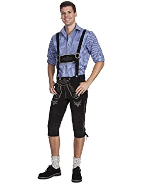 Herren Trachten Lederhose Kniebundhose mit Trägern in schwarz aus feinstem Rindveloursleder, E200