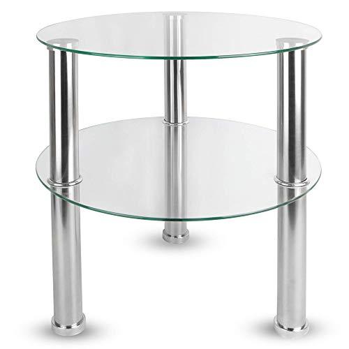 Maison & White Kleiner runder Glas Tisch mit 2 Ebenen |Seitenablage Regal Couchtisch | Edelstahlbeine mit gehärteten Glasoberflächen (Transparant)