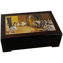 Caja joyero musical de madera con reproducción de un cuadro de Edgar Degas y melodía 'la Valse de l' emperador