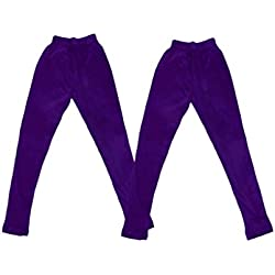 IndiWeaves Super Soft Pure Cottton Purple Leggings for Little Girls(Pack of 2)_3-5 Years