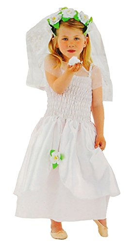 3 tlg. Kostüm Braut - 6 bis 9 Jahre - Gr. 116 - 140 - Karneval / Kinderbraut / Prinzessin - weißes Kleid + Schleier + Tiara - für Kinder Kind Kinderkostüm Fasching + Halloween - Mädchen - Märchenprinzessin Hochzeitskleid - Brautkleid (Halloween Kinder Braut Kostüm Für)