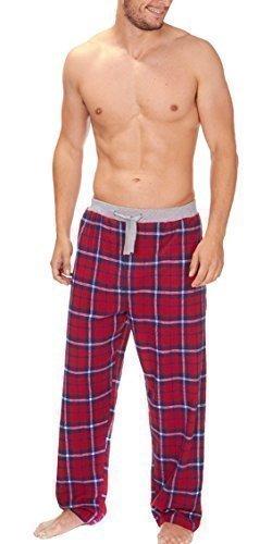Herren Gewoben Freizeithose Schlafanzug Pyjama Hose Karierter Flanell Pyjama PJS S-XL - ROT-SCHECK 31B249, Large (Pjs Herren Flanell)