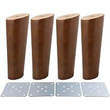 Paquete con 4 patas de madera para gabinetes y sofás, confiables, en forma oblicua, color nuez, de BQLZR, M4170724026