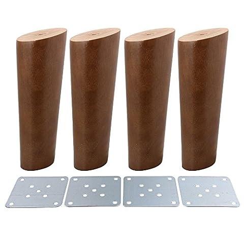bqlzr Walnuss Farbe Oblique konisch zuverlässig Holz Möbel Schränke Beine Sofa Füße 4Stück, M4170724026