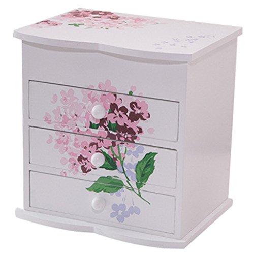 HWF étui cosmétique Boîte à bijoux Boîte de rangement cosmétique Style de tiroir en bois Organisateur