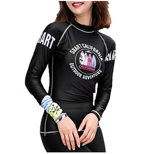 Anliyou Bademode Bikinioberteil Damen Langarm Surfanzug Schwimmanzug mit Cartoon Druck UV Schutz Badeanzug Trend 2020 für Windsurfen Wakeborad Wasserski Surfen Rosa Schwarz Strandmode