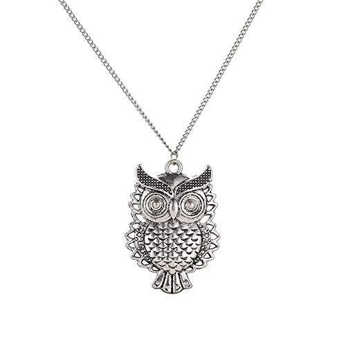 SMILEQ® Hot Fashion Frauen Kristall Bronze Eule Anhänger Lange Pullover Kette Halskette (1x, Silver) - Origami Eule Kette Gold