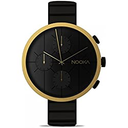 Nooka Nookrono Gold Sapphire Glass Watch Metal Band Men